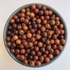100X Round Brown Hard Wood Beads 8mm Exposed Grain Loose Wooden Spacer Beads