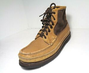 Rare Vintage WC Russell Moccasin Mens Mid top Lace UP Boots Walnut US Size 11.5A