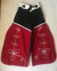 Vintage Adorable Red Black Corduroy With Embroidered Chaps Cowboy Pants Size 4-6
