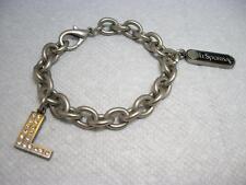 "RARE~LESPORTSAC Charm Bracelet Rhinestone L 8"" with 2 charms Logo"