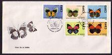 Peru, Scott cat. 978-982. Butterflies issue on a First day cover.