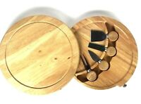 Wood Charcuterie Cutting Board Set 5 pc Cheese 10 in Round Swivel knife spreader