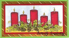 CHRISTMAS HOLIDAY CANDLES Wood Mounted Rubber Stamp NORTHWOODS O10113 New