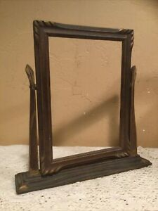 """Vintage Art Deco Wooden Swivel On Base Picture Frame-7x10"""" Photo"""
