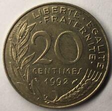 F.156 Monnaie Française 20 Centimes Marianne 1992 Achat Unitaire