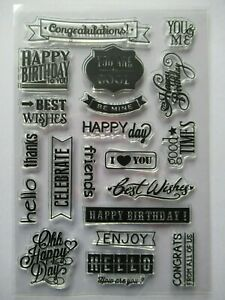 NEW Clear Acrylic Unmounted Stamp - Sentiments Greetings Happy Birthday Thanks +