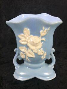 """vintage Art Pottery Weller Pottery Blue White Rose Vase 6 3/4"""" tall 5 3/8"""" x 4"""""""