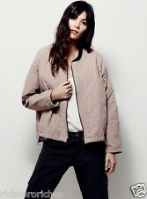 NWT Free People nude pink woven cotton Quilted Aviator Bomber Jacket M $148