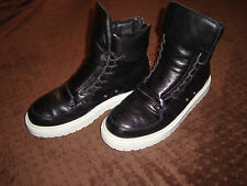 Kris Van Assche Black Leather High-Top Sneakers US Size 8