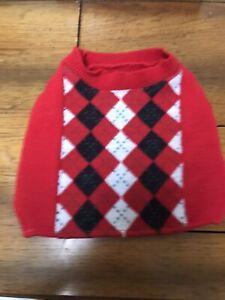 Build a Bear Red Argyle Dog Four-Leg Friend Sweater Teddy Clothes
