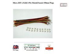 20x Pairs Micro JST 1.5 ZH 3-Pin Male&Female Connector Plugs 150mm Wires RC UK