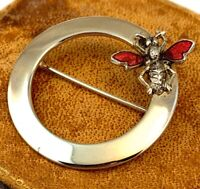 VINTAGE ENAMEL INSECT BROOCH CIRCLE PIN GOLD TONE METAL ACCESSORY