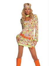 60'S GROOVY CHICK HIPPIE GO GO DANCER MINI DRESS BELT HEADPC COSTUME L MO9587LG