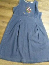 Vintage Woolrich Blue Denim Embroidered Long Pleated Dress Jumper SZ Medium