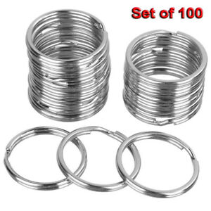 100Pcs Steel Keyrings Split Key Rings Nickel Hoop Ring Nickel Steel Loop 25mm