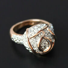 Classic 18K Rose Gold Plated Rose Ring stud with Clear Swarovski Crystals R386