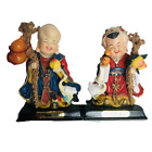 Oriental Laughing Buddha Man Woman Figurines Hand Painted on Bases Geese Fruit