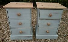 HAND PAINTED SOLID PINE BEDSIDE DRAWERS IN LAMP ROOM GRAY BY FARROW AND BALL