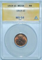 1919 ANACS MS64RB Red and Brown Lincoln Wheat Cent
