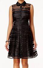 Tahari ASL Casual Sleeveless Chic Illusion-Striped Shirt-dress Size 12P, Black