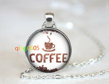 Coffee bean photo dome Tibet silver Chain Pendant Necklace wholesale