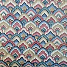 "Vintage Wallpaper 21"" Wide Partial Roll Fish Scale Scallop Blue Red White Gold"