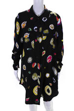 Diane Von Furstenberg  Womens Silk Abstract Print Shirt Dress Black Pink Size 36