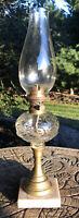 Antique Oil Lamp Ringed Punty Eye & Leaf Glass Font Marble Base
