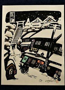 LIMITED EDITION JAPANESE WOOD BLOCK PRINT KIYOSHI IKEZUMI: YUSHIMA TENJINSHITA