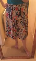 Laura Ashley Abstract Multicoloured 100% Silk Pleated Summer Lined Skirt 14 Zip