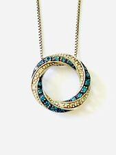 Kay Jewelers 925 White and Blue Diamond Eternity Knot Pendant Necklace