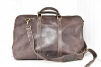 Le Donne Leather Distressed Duffel Travel carry on Bag Overnight weekender brown