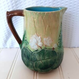 Holdcroft Majolica Creamer Pitcher Water Lily & Fern Leaves Antique 1800s Lotus