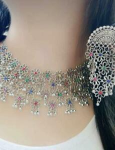 Indian Ethnic Traditional Bollywood Silver Wedding Choker Necklace set Oxidized