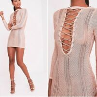 PRETTYLITTLETHINGS Brand Rose Gold Metallic Lace Up Dress Size 10 BNWT #TL113