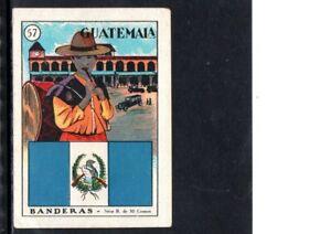 EARLY GUATEMALA  TRADE CARD, FLAG AND LOCAL SCENE