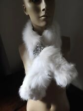 snow white real genuine fox fur pelt collar scarf satin lining coat jacket