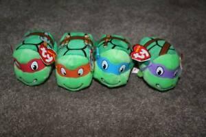 """Ty Teenage Mutant Ninja Turtles Plush Lot of 4 Teeny Tys 2006 4"""" NWT Leonardo"""