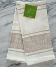 New SET OF 2 NEW Kate Spade PROOF IS IN THE PUDDING Diner Stripe Tea Towels TAN