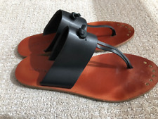 Lucky Brand Thong Flip Flops Brown & Tan Leather Size 8 Sandal Thongs