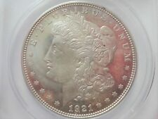 << 1921-D  MORGAN SILVER DOLLAR, ANACS GRADED MS62 COIN, NICE DETAILS & LUSTER