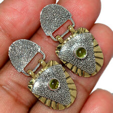 Two Tone - Green Tourmaline 925 Sterling Silver Earrings Jewelry AE147587