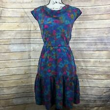 Plenty by Tracy Reese water-color ruffled dress sz Small 100% Silk Cocktail