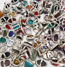 Agate & Mix Gemstone Wholesale Lot 20pcs 925 Silver Plated Handmade Rings