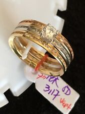 GoldNMore: 18K Tri Color Gold Ring With Russian S 3 In 1 1pc White Yellow Rose G