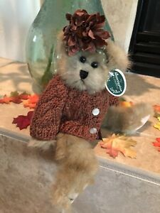 "Bearington Bears KATIE #1387  2002 Plush Fall 10""🐻Rust Sweater, Flower🍁  MWT🍁"
