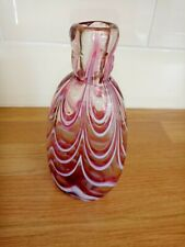 VICTORIAN NAILSEA cranberry & white glass flask