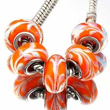 orange Crystal murano glass beads 5Pcs lampwork beads lot Fit European Bracelet