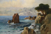 Art Oil painting seascape with ocean waves and rocks in dusk landscape canvas