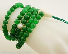 Elegante mala verde jade cadena de oración (8mm) la chaîne cuello joyas 19